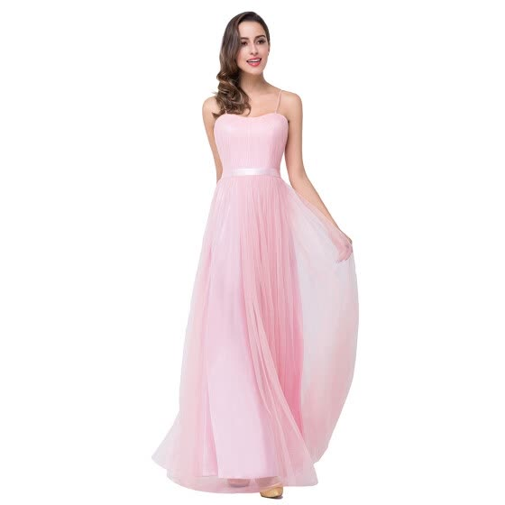 Hot Pink Long A-line Evening Party Prom Dress Pageant Bridesmaid Formal Gown Elegant