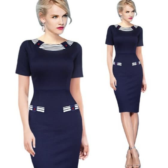 Womens Elegant Vintage Pinup Colorblock Contrast Party Wear to Work Office  Fitted Sheath Pencil Dress 94bbcf85c14b
