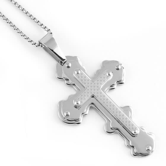 Hpolw stainless steel crucifix pendant Mens Womens Silver Cross Pendant Necklace Jesus Piece 316L Stainless Steel High Quality