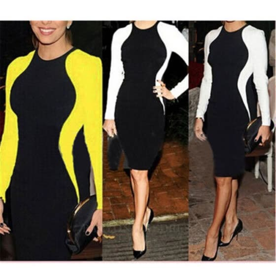 Women Celebrity Slimming Optical Illusion Bodycon Stretch Tunic Business Wear To Work Bodycon Pencil Wiggle Dress