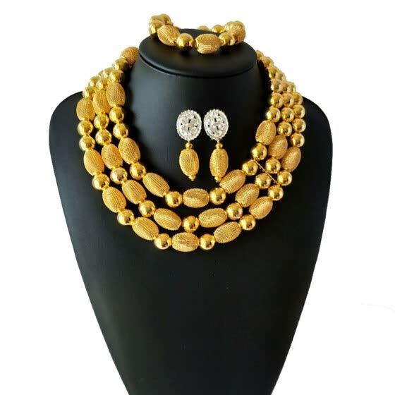 Gold Metal Ball Women Party Accessories African Jewelry Set Necklace Bracelet  Earrings Nigerian Jewelry Wedding Jewelry Sets