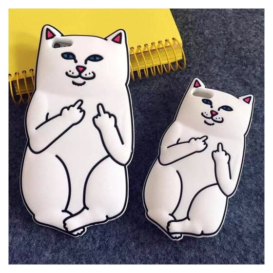 b582a616c87f7c Luxury Fashion 3D Cute Cartoon Funny White Pocket Cat Soft Silicone Cover  Back Case For iPhone