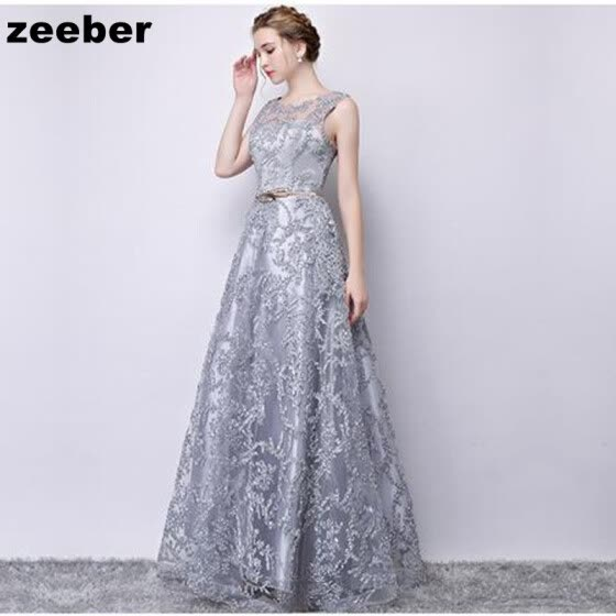 3fdf1fde986 Sexy Evening Dresses Long Vintage Grey Elegant Sleeveless Lace Satin Party  Gown Prom Dress Women Zipper