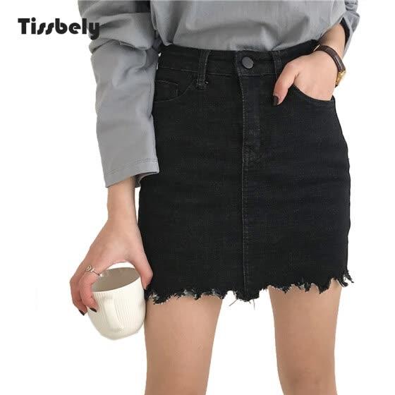 a0c6aa2e39 Tissbely Cowboy A-Line Mini falda Sexy arriba de la rodilla cintura alta  borla línea