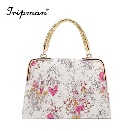 Tripman 2016 New Leather Women Floral Shoulder bag Top Grade Female Totes Brand Shell Bag Bolsas Feminina Chinese National Style Porcelain Handbag