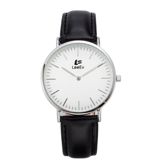 LeeEv Fashion Leather Band Stainless Steel Case Casual Watch for Women