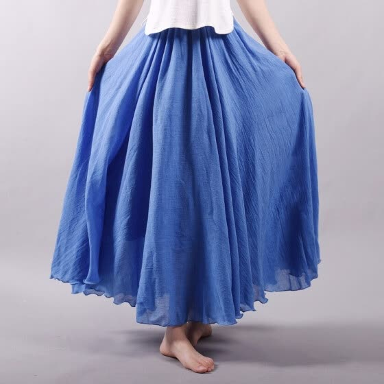 Linen Cotton Long Pleated Skirts Women Elastic Waist Maxi Skirts Beach Party Vintage Summer Skirts Faldas Saia