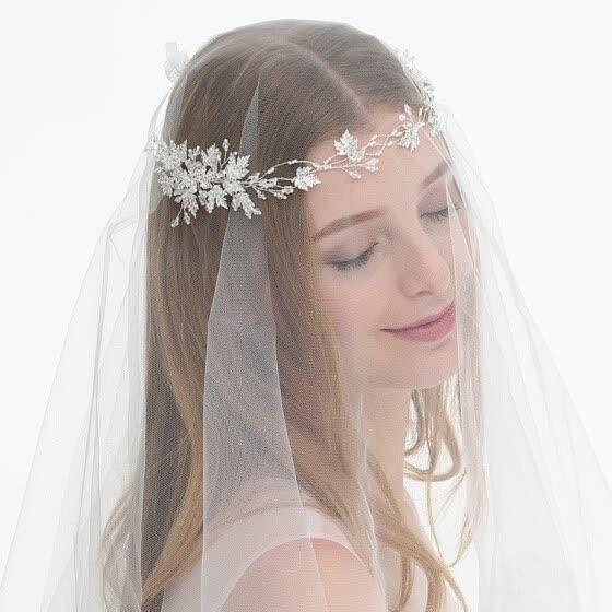 Shop Jonnafe Silver Leaf Bridal Hair Jewely Headband Pearls