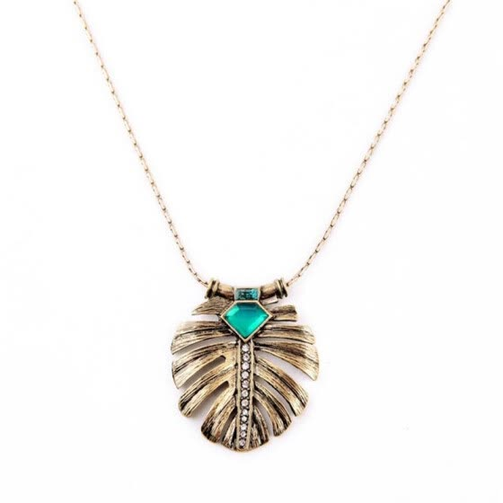 Aiyaya Vintage Emerald Sapphire High Quality Crystal Round Leaf Pendant Necklace Chian For Teengirls