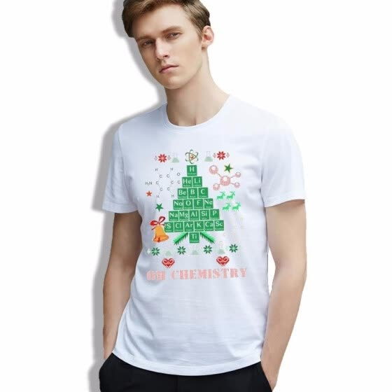 men Shirt Homme Lovely Christmas Tree Letter Retro clothes Snow Elegant Graphics Short Sleeve 100% Cotton T-shirt