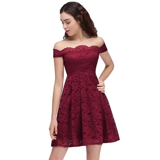 Shop Short Prom Dresses 2017 Backless Lace Plus size ...
