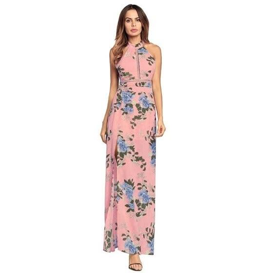 2e16b9fe8bd Ruiyige 2018 Women Floral Print Halter Chiffon Long Dress Sexy Split  Backless Summer Hollow Out Party