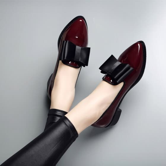 c3b984846d1 Patent Leather Fashion Penny Loafers for Women Low Heel Slip-On Casual  Shoes Pointed Toe