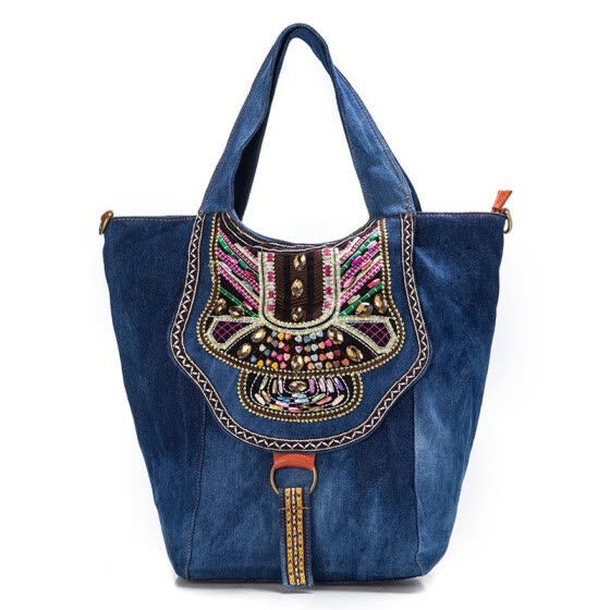 New brand Chinese denim women ethnic embroidery bag vintage Hmong handmade embroidered bag famous brand women shoulder bags