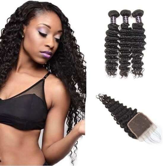 Ishow Hot Selling 7A Deep Wave Human Hair Bundles With Baby Hair With Lace Closure Peruvian Virgin Hair 3 Bundles With Closure