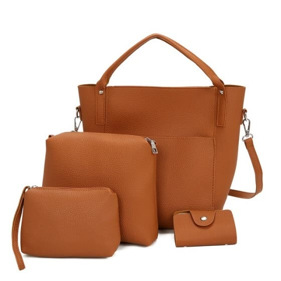SMOOZA 4 PCS Composite Bag Set for Women Bag PU Leather Shoulder Handbag Female Casual Totes small Messenger Bag Bolsa Feminina