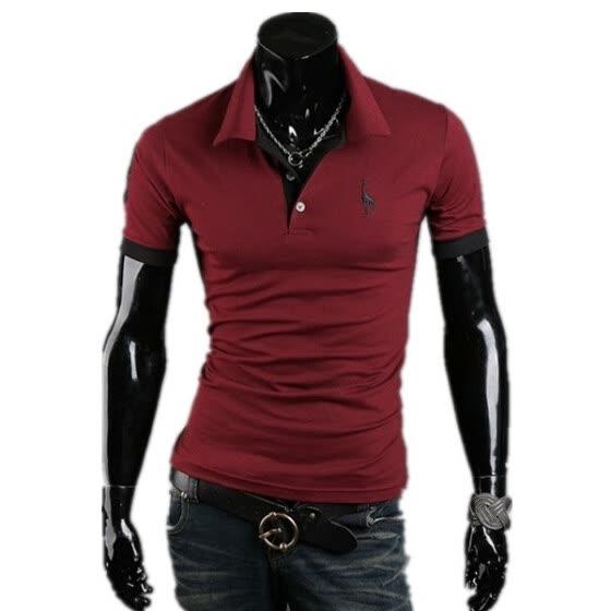 8f70901dfcc Zogaa Новые Мужская рубашка поло Олень Вышивка рукавом Тонкий Короткие