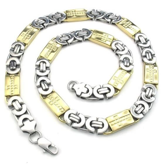 Hpolw wholesale Jewelry Mens 316L Stainless Steel geometric designs Necklace with Heavy Wide Cross Links Chain Gold Silver