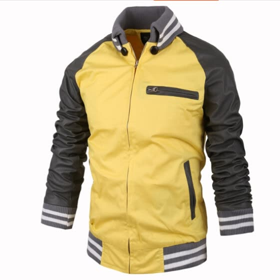 Zogaa New Men's Jacket Fashion Slim Stand Collar Color Matching