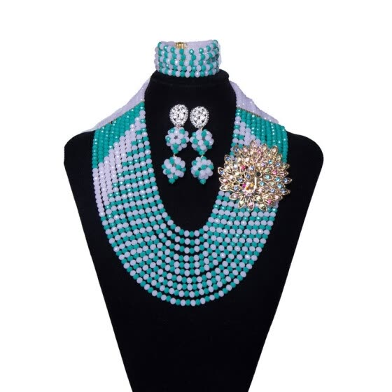10 Rows Green And White With Corsage Womens Wedding Crystal jewelry African Bridal Costume Jewelry Nigerian Beads Jewelry Set