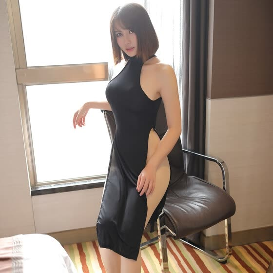 sexy underwear swimming cloth high slit cheongsam dress positive and negative 2 wear sexy uniform temptation female sexy suit