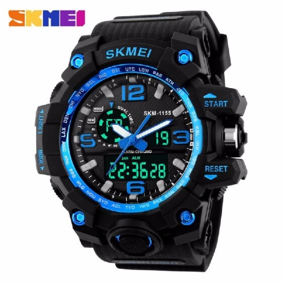 Luxury SKMEI Brand  LED  Military Waterproof Wristwatch Fashion Sport Super Cool Men's Quartz Analog Digital Watch