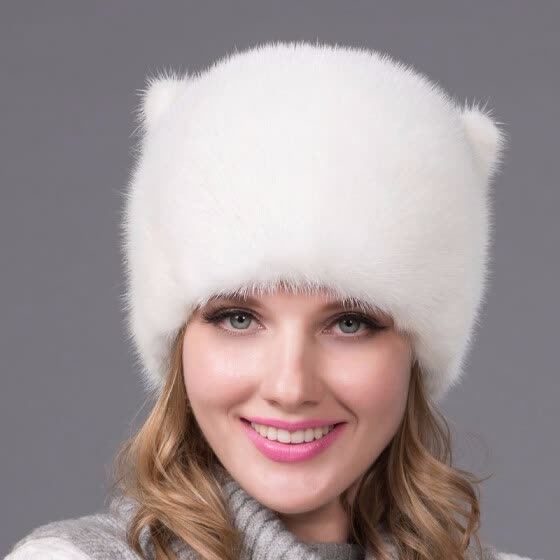9b397e814 Shop Autumn and winter suede warm hat female real fur hat fancy ...