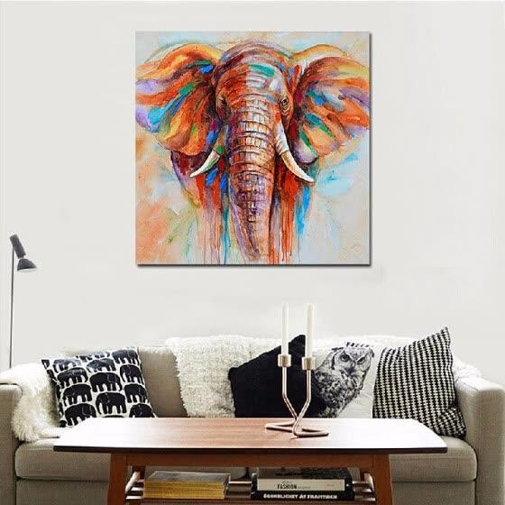 Shop Wall Decoration 50 50cm Hd Printed Frameless Elephant Head