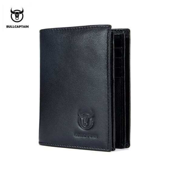 BULLCAPTAIN 2018 New Arrival Mens Wallet Cowhide Coin Purse Designer Brand Wallet clutch leather wallet man wallet for money