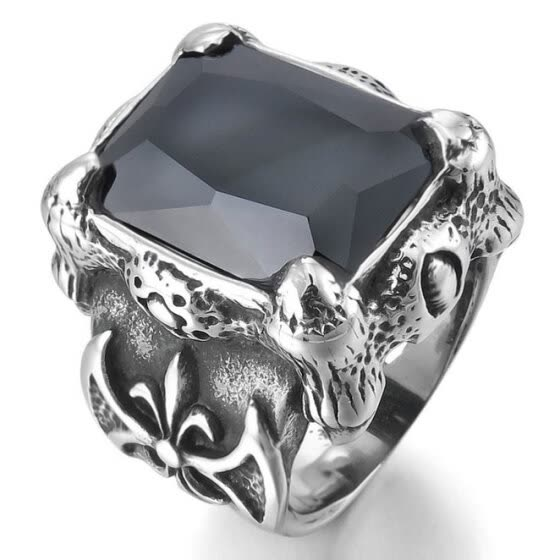 Hpolw Men Large Silver Stainless Steel Black Crystal Ring and Agate Dragon Claw Knight Fleur De Lis Vintage Gothic ring
