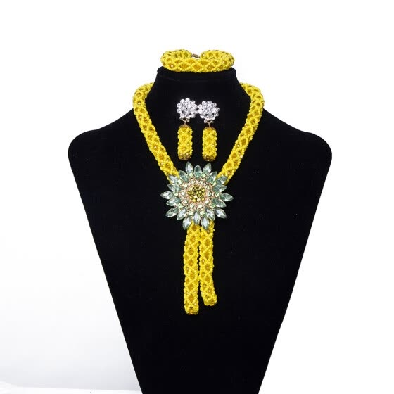 fcafccad6 2018 Women Festival Party African Jewelry Set Yellow Handmade Crystal  Necklace Nigerian Bridal Wedding Beads Jewelry