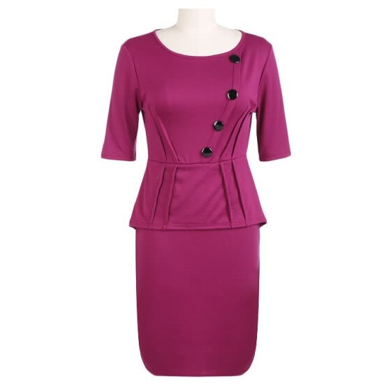 Womens Vintage Elegant Tunic Half Sleeve Peplum Wear To Work Party Bodycon Pencil Dress