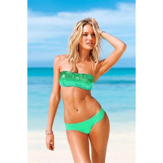 dff4be03a3 Sexy Bikini Bandeau Bling Sequin Bikinis Swimwear Women Bikini Set  Beachwear Push Up Swimsuit Bathing Suits