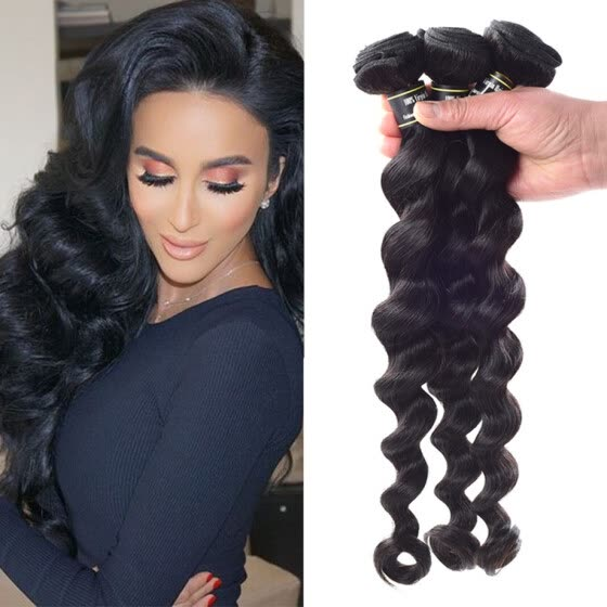 Amazing Star Peruvian Virgin Hair Loose Wave Bundles Loose Wave Human Hair Extensions Soft and Bouncy 3 Bundle Deals