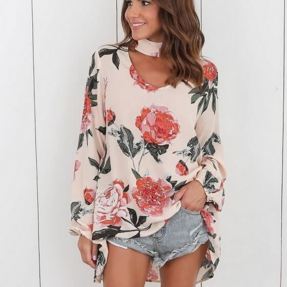 New Fashion Women Floral Printing Tops Long Sleeve Halter V Neck Casual Blouse Shirt Plus Size S-3XL