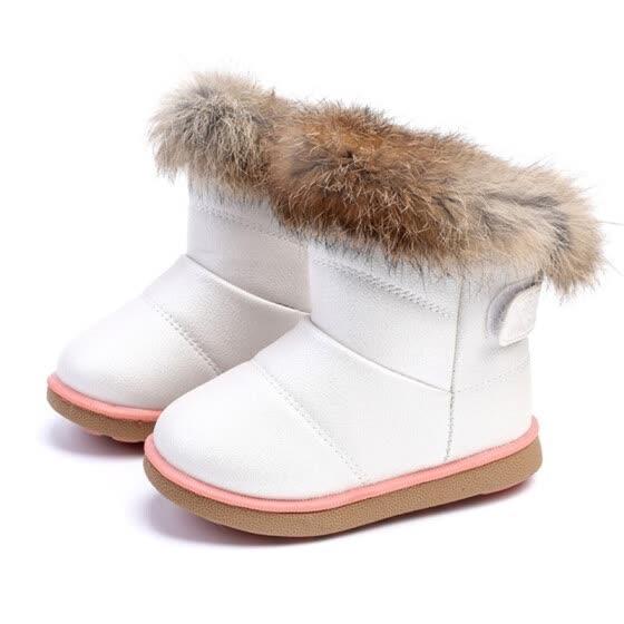 9ce9d1d6a Удобная детская зимняя мода для девочек зимние ботинки теплые плюшевые  мягкое дно для маленьких девочек кожаные