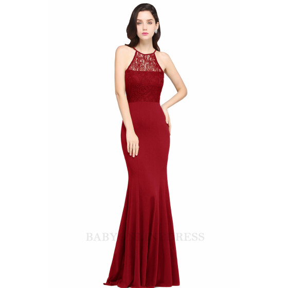 RED LACE SEQUIN EMBELLISHED HALTERNECK MAXI EVENING PARTY PROM GOWN DRESS SZ 14
