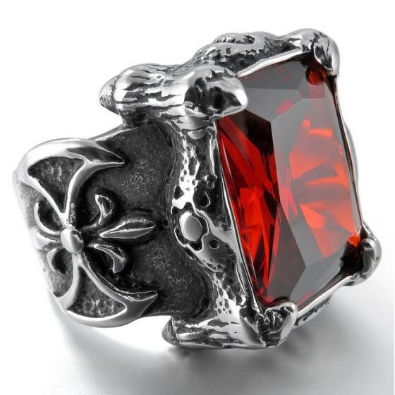 Hpolw Men's Large Stainless Steel Ring CZ Silver Black Red Dragon Claw Knight Fleur De Lis Vintage Gothic