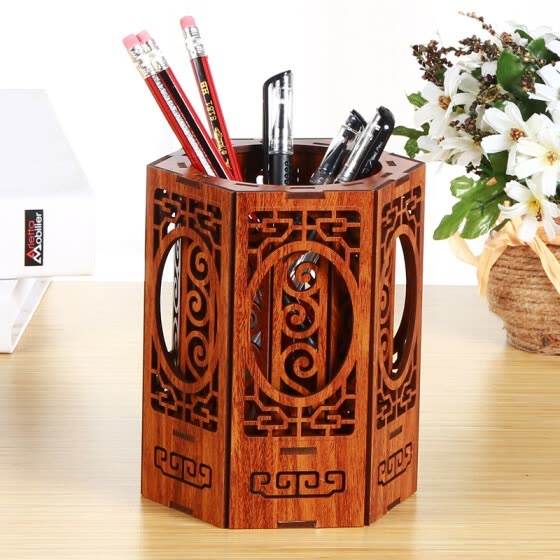 Yapi Shi wooden hexagon pen creative Chinese retro desktop storage box office supplies stationery small items mobile phone remote control finishing box rose