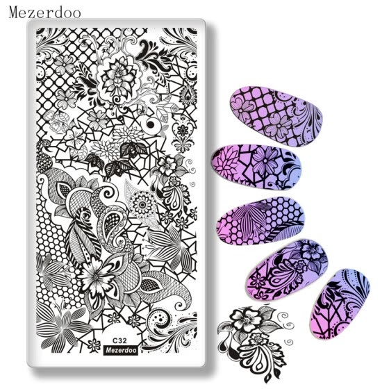 Beauty Lace Flowers Image Print Stencil Stamp Nail Plates Nail Art Template Styling DIY Decoration Tool for Staming Polish C32