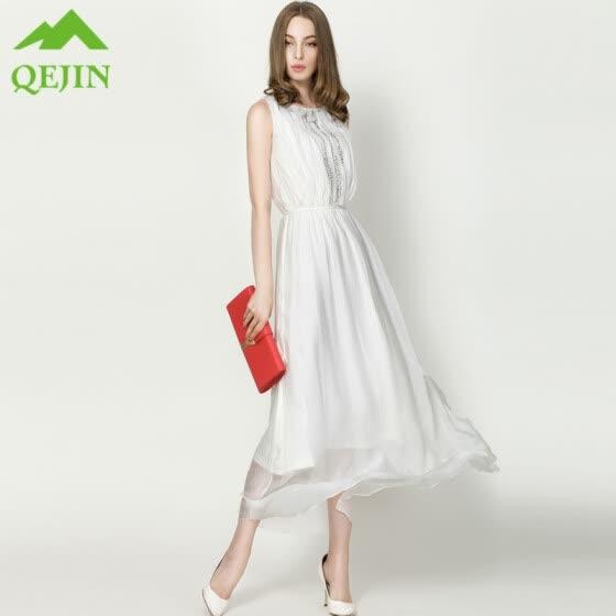 3e23e94260d Bohemian beach dresses summer 2018 new women nature silk elegant slim long  solid White Beading Empire