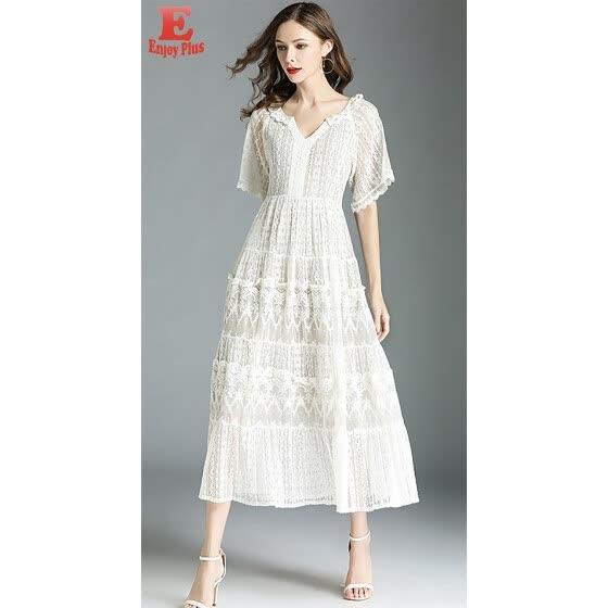 6a3d9082ae6 S M L Xl XXL elegant lace new summer 2018 long maxi dress women short  sleeve white V