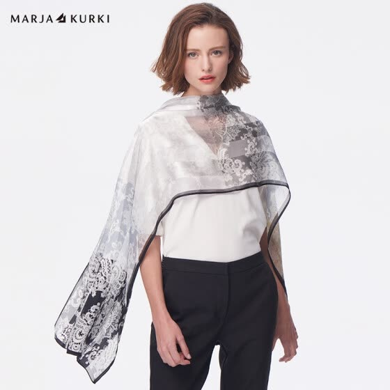 MARJA KURKI Increases Long Silk Scarf Silk European and American Style Lace Pattern Dual-Use Imported Shawl Women's Gift Box Light and Shadow 1DD484090 Gray