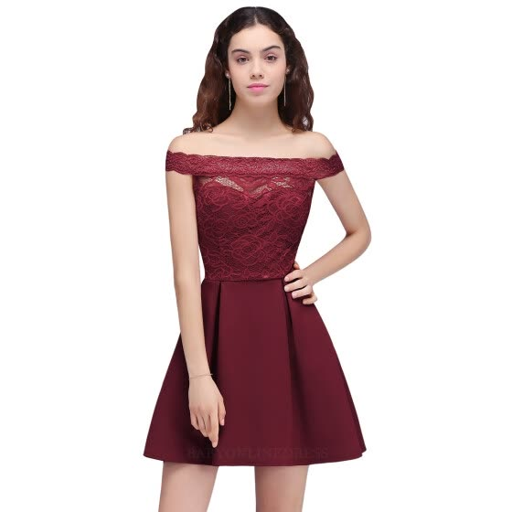 fde1fca5aa6 Shop In Stock Cocktail Dresses 2018 Simple A-Line Boat Neck lace ...