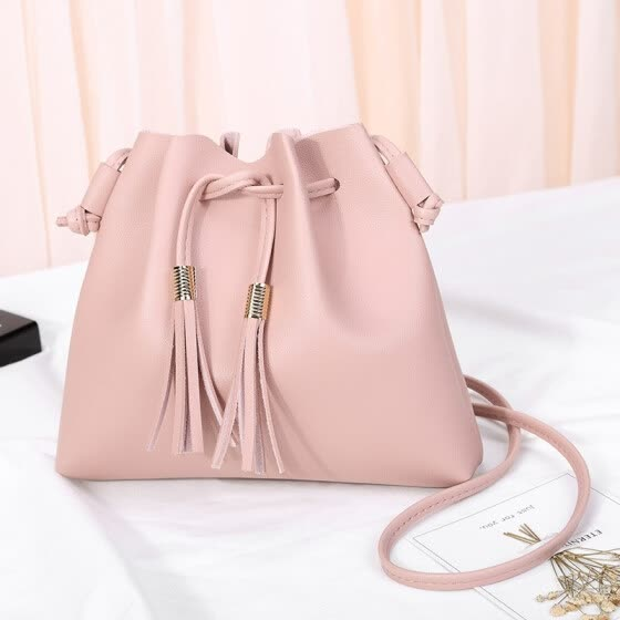 82906a1930a3 2018 Crossbody Bags For Women Colorful Strap Bucket Bag Women PU Leather  Leather Handbags Women Bag