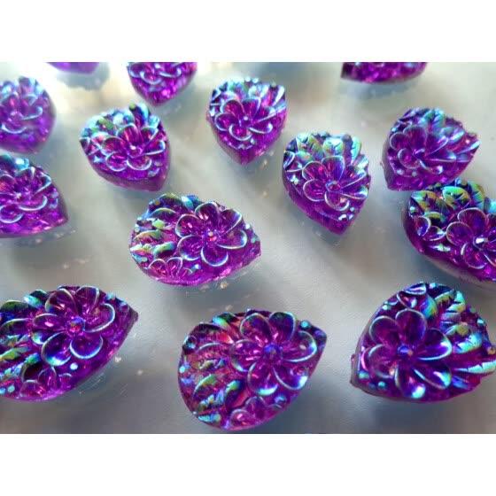100pcs 13 18mm flatback Sew On rhinestones purple AB colour crystal water  drop shape resin 7336c77fc65a