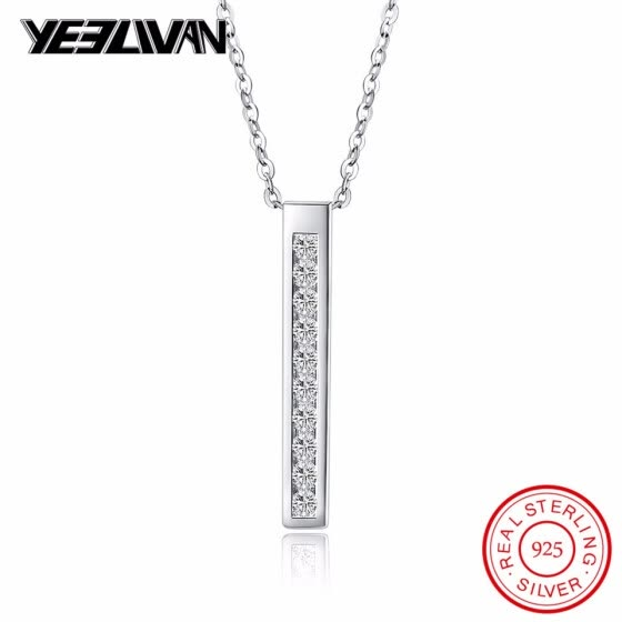 925 Sterling Silver Cube Pillar Geometry Necklaces & Pendants For Women Girls Casual Crystal Stone Sterling-silver-jewelry 2018