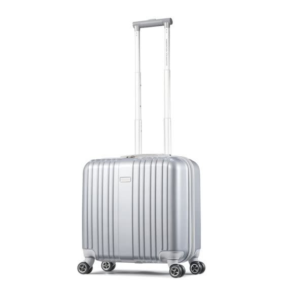 American Travel AmericanTourister Trolley Business Men and Women 18 Inch Captain Traveling Boarding Case Universal Wheel Ultra Light Luggage TSA Combination Lock 79B Silver
