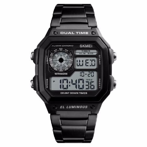 935aed3b426 SKMEI Sport Stainless Steel Men Watch 5ATM Water-resistant Digital  Backlight Man Wristwatch Male Relogio