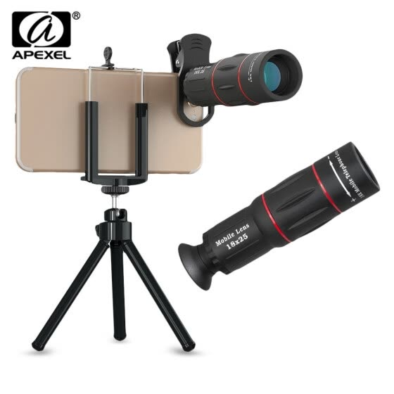 APEXEL APL - T18ZJ 18X Optical Zoom Telephoto Telescope Lens Camera with Phone Holder Clip Tripod  monocular Easy to focus